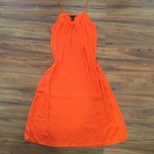 Orange shift midi dress